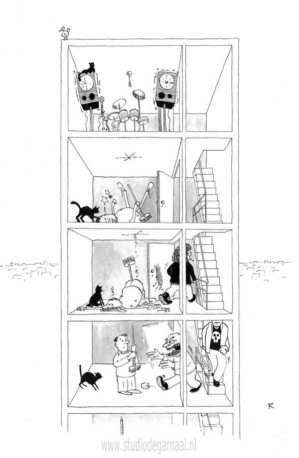 Burenruzie Cartoon Geweld Muziek