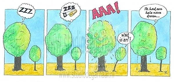 Dromende Bomen Cartoon Natuur