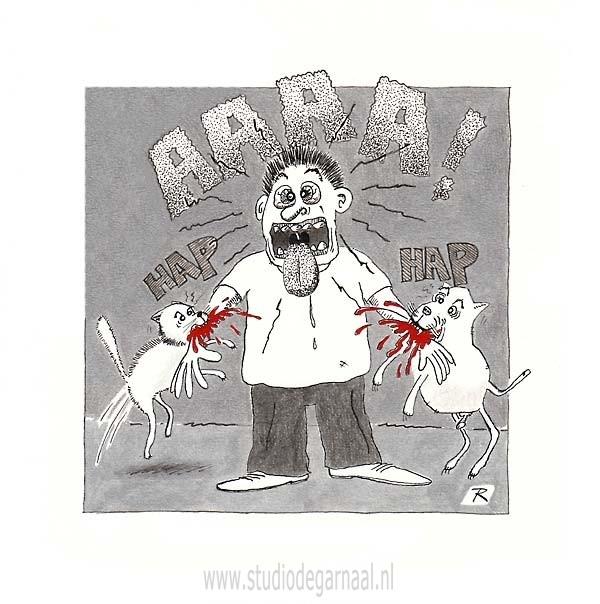 De Man die door de Kat en door de Hond gebeten werd... Cartoon Dieren Geweld Politiek