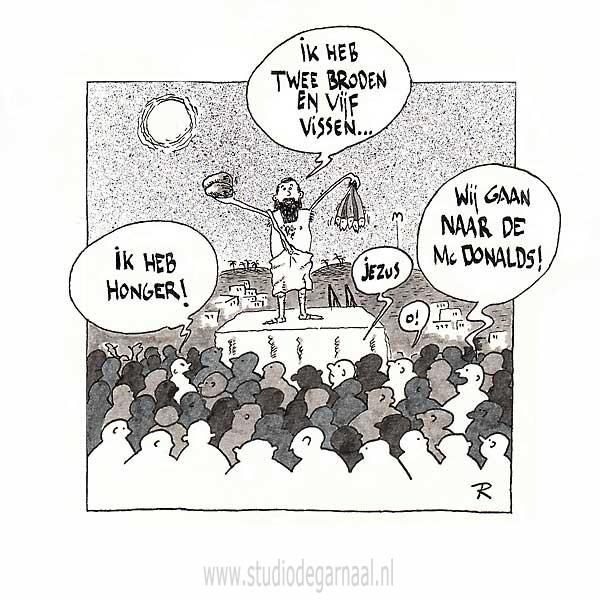 Twee Broden en Vijf Vissen Cartoon Horeca Religie