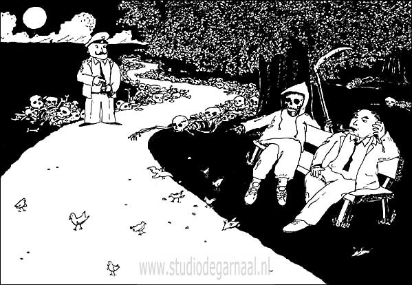 De Dood is Levendig  - Cartoons door cartoonist & illustrator Ronald Oudman