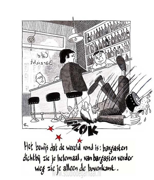 De Wereld is Rond! Cartoon Horeca Wetenschap