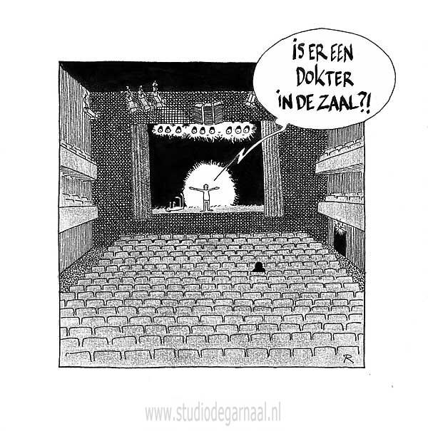 Is er een dokter in de zaal?  - Cartoons door cartoonist & illustrator Ronald Oudman