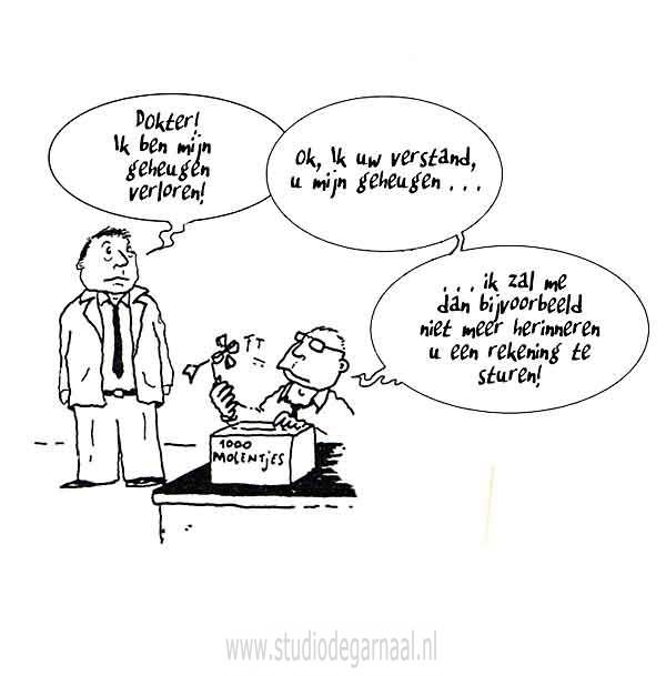 Verstand en Geheugen  - Cartoons door cartoonist & illustrator Ronald Oudman