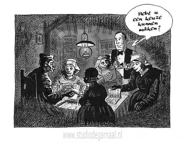 Het Familiediner Cartoon Horeca