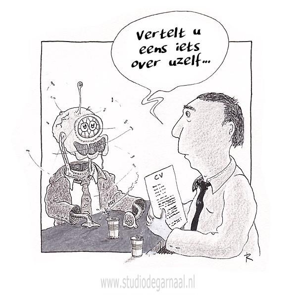 Gek Sollicitatiegesprek Cartoon Economie Werk