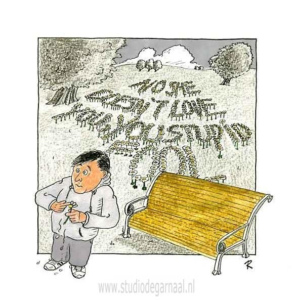 She loves me... She loves me not...  - Cartoons door cartoonist & illustrator Ronald Oudman