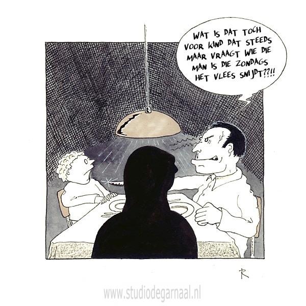 De Man die Zondags het Vlees Snijdt Cartoon Kinderen Mannen