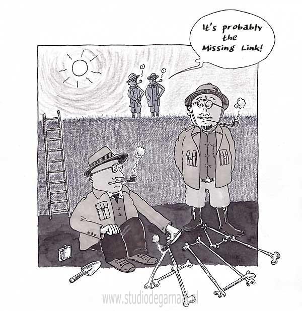 The Missing Link  - Cartoons door cartoonist & illustrator Ronald Oudman