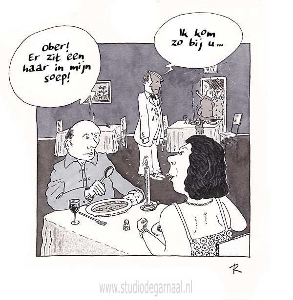 Er zit een Haar in mijn Soep!  - Cartoons door cartoonist & illustrator Ronald Oudman