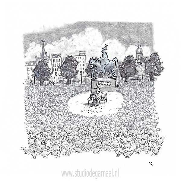 Duiven Voeren  - Cartoons door cartoonist & illustrator Ronald Oudman