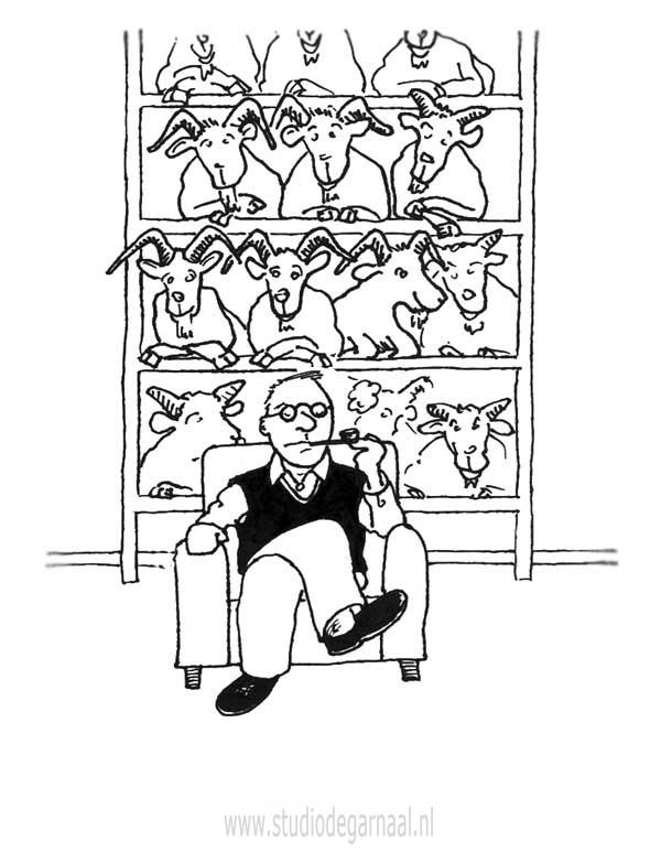 Bokkenkast  - Cartoons door cartoonist & illustrator Ronald Oudman