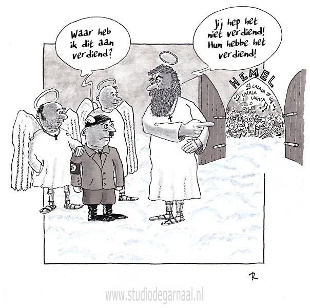 Hitler in de Hemel Cartoon Dood Religie