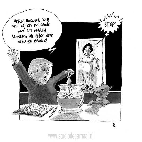 Huiswerk  - Cartoons door cartoonist & illustrator Ronald Oudman