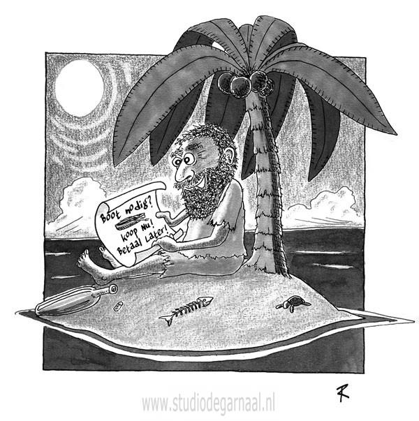 Koop nu! Betaal later!  - Cartoons door cartoonist & illustrator Ronald Oudman