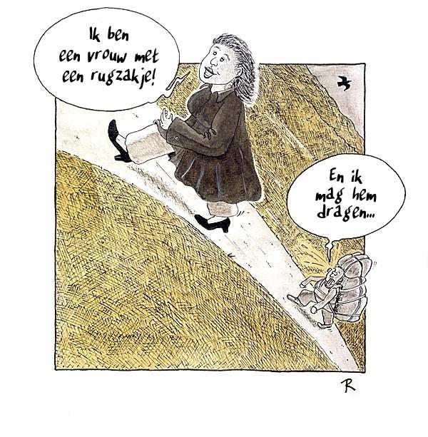 Rugzakje  - Cartoons door cartoonist & illustrator Ronald Oudman