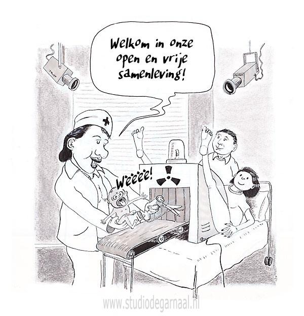 Een Open en Vrije Samenleving Cartoon Medisch Politiek Vrouwen