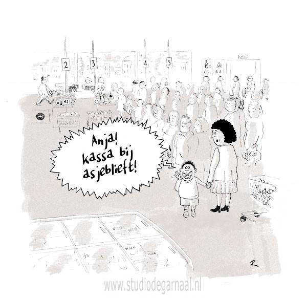 Anja! Kassa Bij Asjeblieft! Cartoon Kinderen Management Shoppen Vrouwen