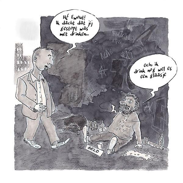 Stoppen met Drinken Cartoon Mannen