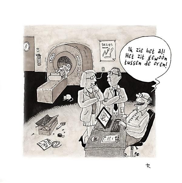 Tussen de Oren Cartoon Medisch Wetenschap Ziekte