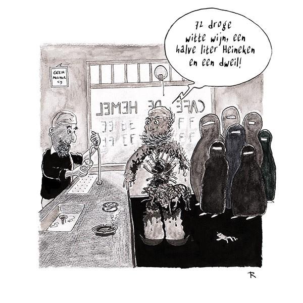 72 droge witte wijn Cartoon Geweld Horeca Mannen Multiculti Religie