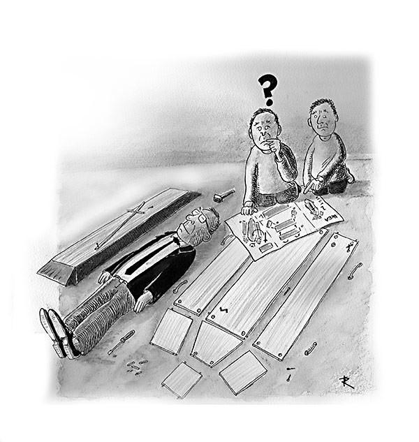IKEA oprichter overleden Cartoon Dood Shoppen