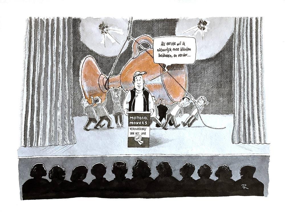 Beste Verhuisbedrijf van 2018 - Mondial Movers Cartoon Werk Werk in Opdracht