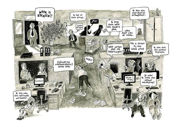 Een Nieuwe Uitdaging! Cartoon Economie Management Werk