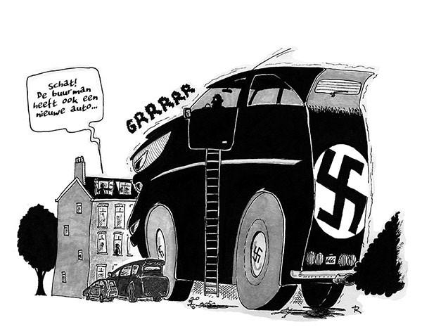 De buurman heeft ook een nieuwe auto Cartoon Mannen Verkeer