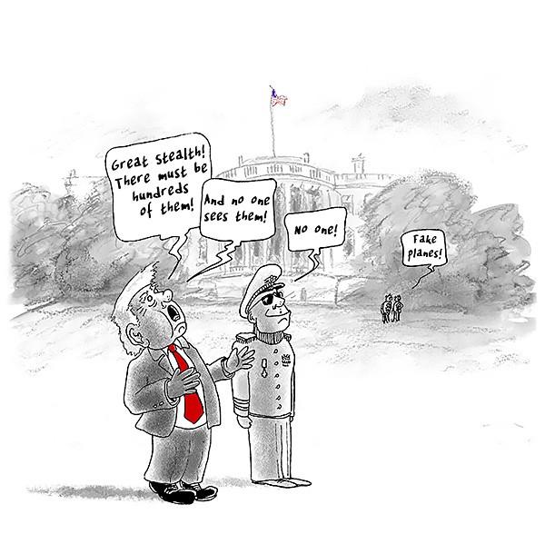 Trump's 4th of July Cartoon Mannen Politiek