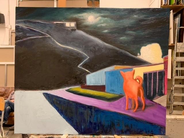 Hond op Helgoland Schilderij