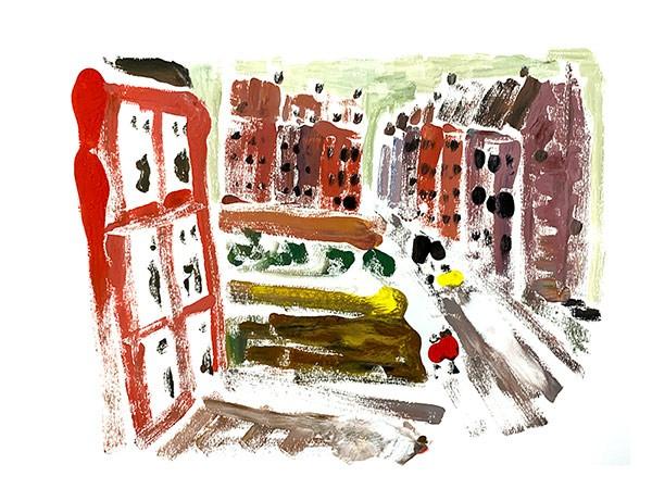 Koude Winter in een Onbekende Stad waar de Winkels Dicht Zijn en Niet Snel Open Gaan Schilderij