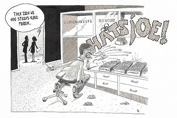 In het Coronatestlab Cartoon Medisch Wetenschap Ziekte
